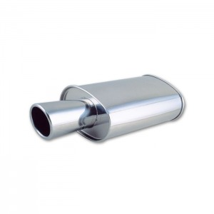 STREETPOWER Oval Muffler w/ 4″ Round Angle Cut Tip (2.5″ inlet)