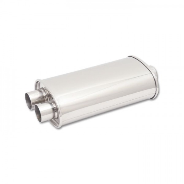 """STREETPOWER Oval Muffler, 2.5"""" inlet (Center In - Dual Out)"""