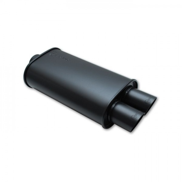 """STREETPOWER FLAT BLACK Oval Muffler with Dual Tips (4"""" inlet)"""