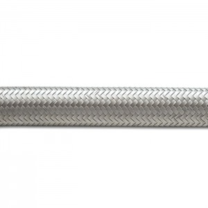 Braided Flex Hose, Stainless Steel, Size: -4AN, Hose ID: 0.22″, 10ft Roll