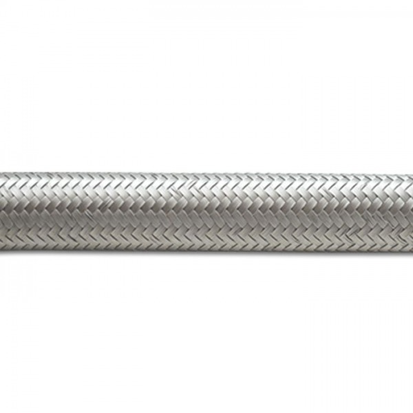 "Braided Flex Hose, Stainless Steel, Size: -16AN, Hose ID: 0.89"", 5ft Roll"