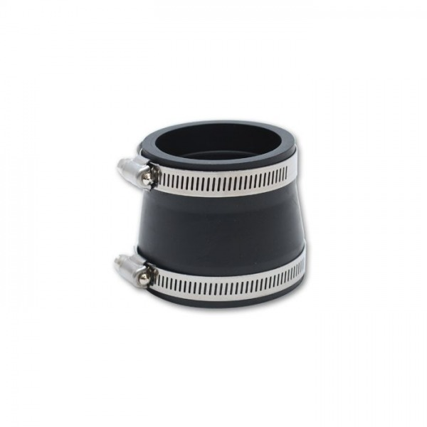 """Non-Reinforced Silicone Reducer Coupler, 3"""" ID x 4"""" ID x 3"""" Long - Black"""