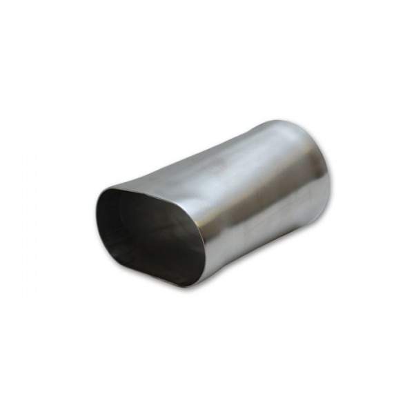 """3"""" Oval to 3"""" O.D. Round Stainless Steel Transition Adapter (6"""" Long)"""