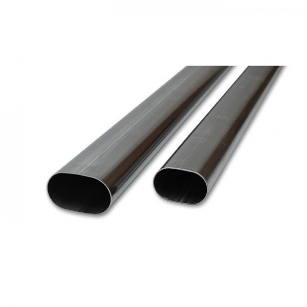 """3.5"""" Oval (nominal) 304 Stainless Steel Straight Tubing - 5 feet long"""