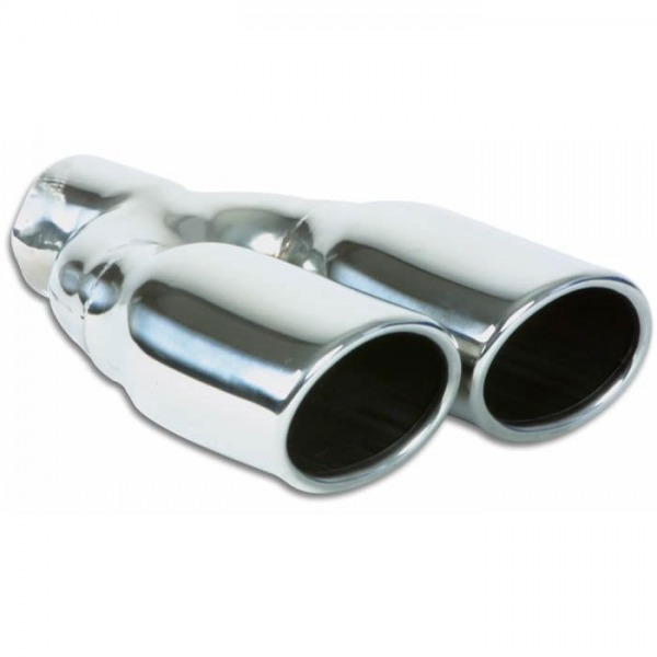 """Dual 3.25"""" x 2.75"""" Oval Stainless Steel Tips (Single Wall, Angle Cut)"""