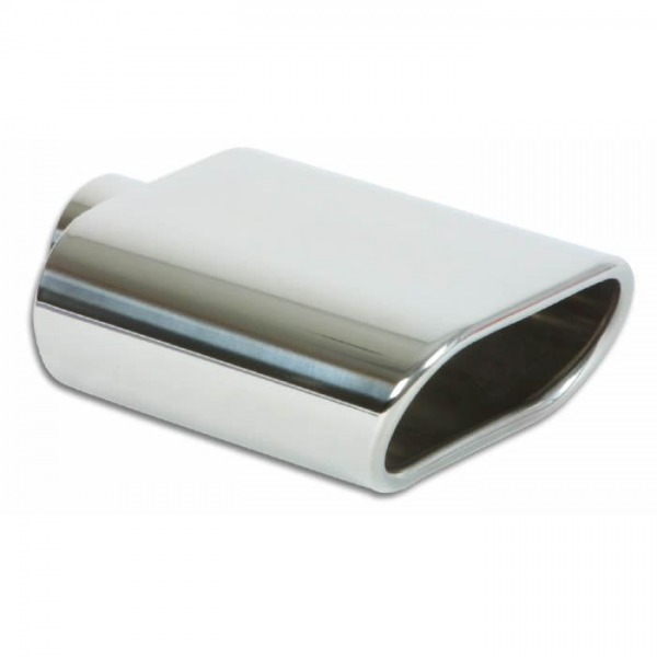 """5.5"""" x 3"""" Oval Stainless Steel Tip (Single Wall, Angle Cut)"""