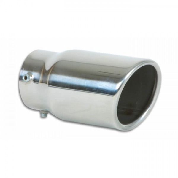 """3"""" Round Stainless Steel Bolt-On Tip (Single Wall, Angle Cut)"""