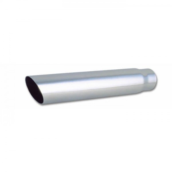 """3"""" Round Stainless Steel Tip (Single Wall, Angle Cut) - 2.5"""" inlet, 18"""" long"""