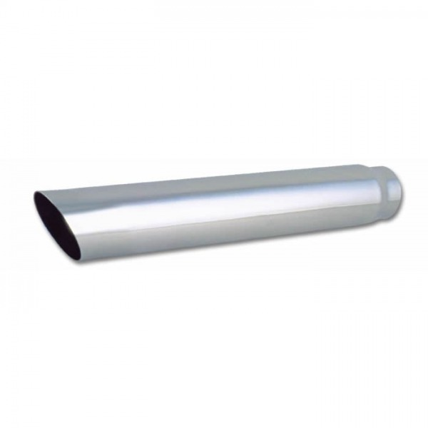 "4"" Round Stainless Steel Tip (Single Wall, Angle Cut) - 3"" inlet, 20"" long"