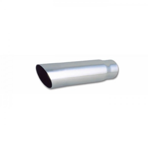 """3"""" Round Stainless Steel Tip (Single Wall, Angle Cut) - 2.5"""" inlet, 11"""" long"""
