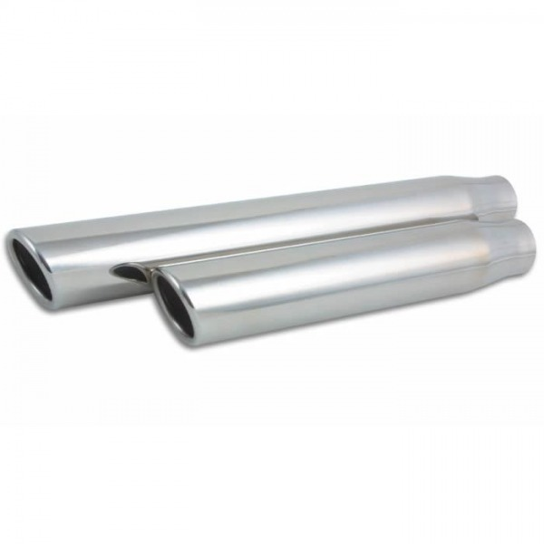 "3.5"" Round Stainless Steel Tip (Single Wall, Angle Cut) - 2.5"" inlet, 18"" long"