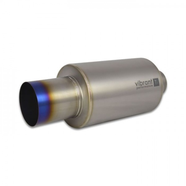 """Titanium Muffler with Straight Cut Burnt Tip, 2.5"""" inlet/outlet"""