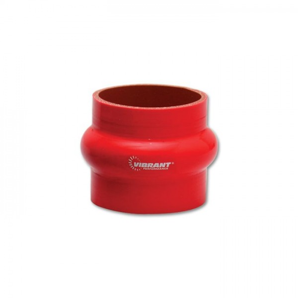 """4 Ply Silicone Hump Hose Coupler, 1.5"""" ID x 3"""" Long - Red"""