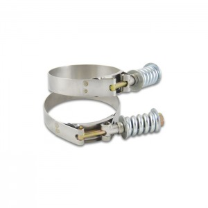 Stainless Steel Spring Loaded T-Bolt Clamps (Pack of 2) – Range: 6.25″-6.55″